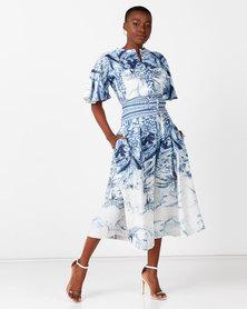 Judith Atelier Valerie Print Wide Leg Jumpsuit Blue