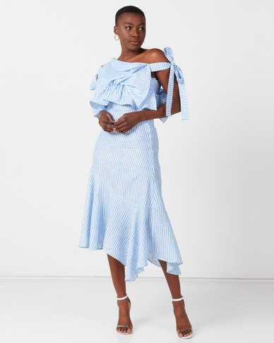Judith Atelier Zora Stripe Frill Asymmetrical Dress Blue