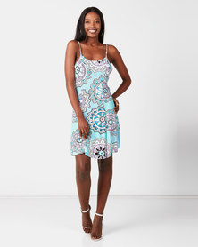 Utopia Printed Knit Dress Turquoise