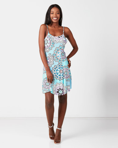 Utopia Printed Knit Dress Turquoise
