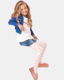 Gabriella Kids Pipi Polkadot Stockings White