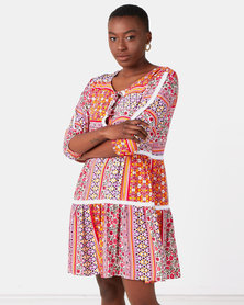 Lila Scarf Short Melissa Lace Dress Print Pink