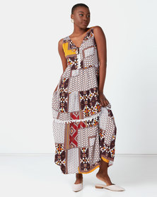 Lila Rose Print Sleeveless Melissa Dress Brown