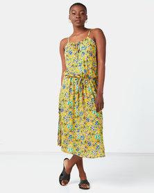 Lila Rose Print Sleeveless Grecian Dress Mustard