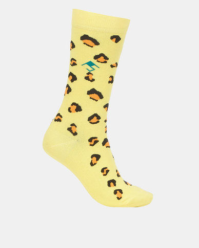 Future Socks Bamboo Mabala Yellow Leopard Print