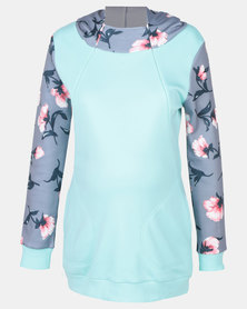 Foxy Mama Floral Nursing-Friendly Hoodie Mint Green