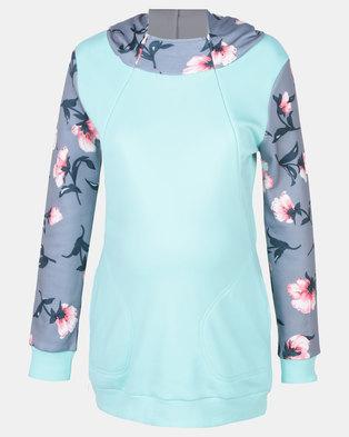 Foxy Mama Floral Nursing-Friendly Hoodie Mint Green