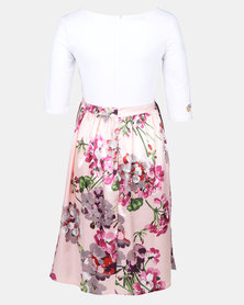 Foxy Mama pink and white floral maternity dress