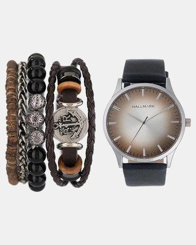 Hallmark Black/Brown Watch and Anchor Silver Bangle Gift Set