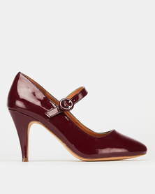 Bata Mary Jane Heels Burgundy