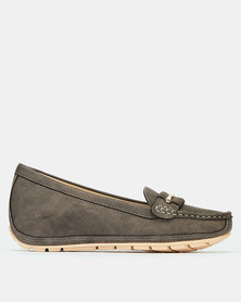 Bata Wedge Moccasins Grey