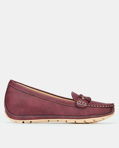 Bata Wedge Moccasins Burgundy