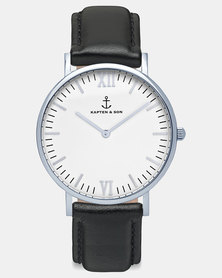 Kapten & Son  Campina Silver Leather Watch Black
