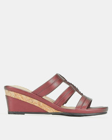 Bata Comfit Slip On Wedges Burgundy