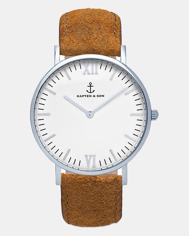 Kapten & Son Campus Vintage Leather Watch Silver/Brown