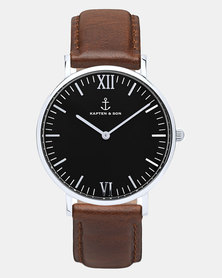 Kapten & Son Campus Leather Watch Silver/Black/Brown