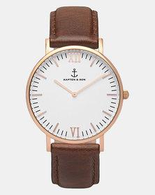Kapten & Son Campus Leather Watch Brown