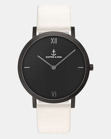 Kapten & Son Pure Nox Leather Watch White