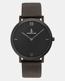 Kapten & Son Pure Nox Leather Watch  Black