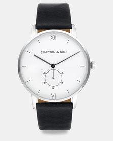 Kapten & Son Heritage Silver Leather Watch Black
