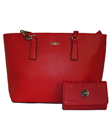 Fino Pu Leather Handbag Tote Bag & Purse Set - Red