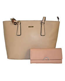 Fino Pu Leather Tote Shoulder Bag & Purse Set - Dusty Pink