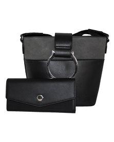 Fino Pu Leather Shoulder Bag & Purse Set- Black