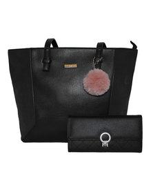 Fino Pu Leather Tote and Removable Pom & Purse Set - Black