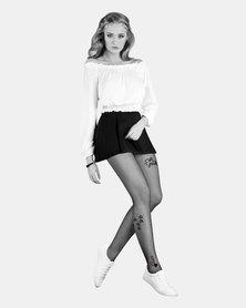 Gabriella Art Lippy Designer Stockings Black