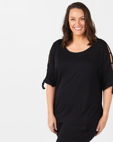 Slick Plus Black Sofia Slat Sleeve Styled Top