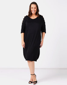 Slick Plus Black Chanti Slat Sleeve Styled Dress