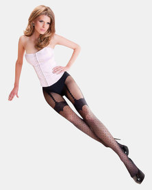 Gabriella Collection Gabriella Lumia Polka Faux Suspender Stockings Black