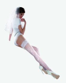 Gabriella Calze Princessa 6 Designer Hold Up Stockings White