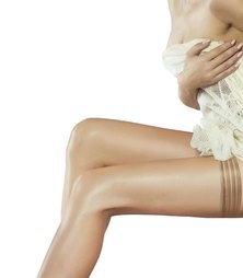 Couture Perfectly Sheer Tri-Band Hold Up Stockings Natural