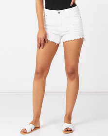 Utopia Cut Off Denim Shorts White