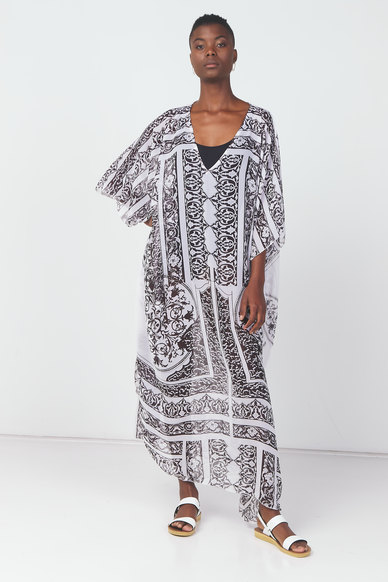 Utopia Printed Swimwear Kaftan Black/White