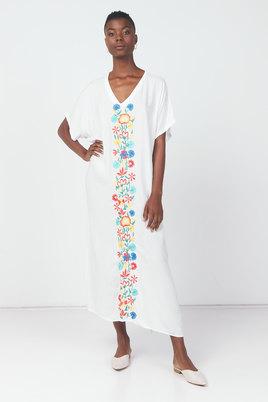 Utopia Embroided Swimwear Kaftan White