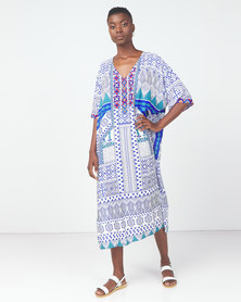 Utopia Tile Printed Embroided Swimwear Kaftan Blue