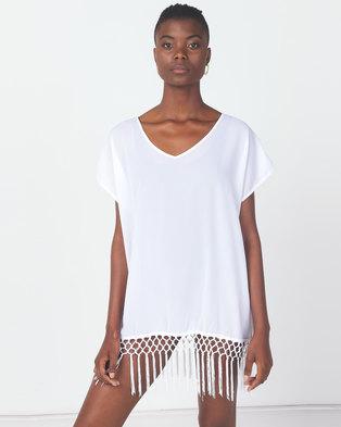 Utopia Swimwear Coverup With Fringing White