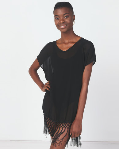 Utopia Swimwear Coverup With Fringing Black