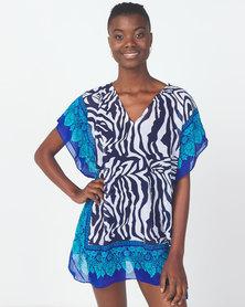 Utopia Zebra Print Swimwear Kaftan Multi