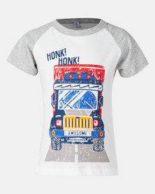 Utopia Boys Honking Truck Multi Tee Grey