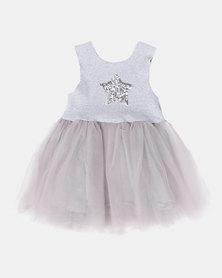 Utopia Girls Glitter Star Dress Grey