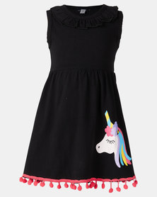 Utopia Girls Unicorn Dress Black