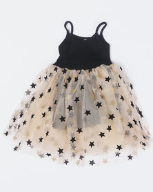 Utopia Girls Stars Tulle Dress Black