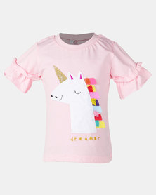 Utopia Girls Dreamer Unicorn Tee Pink