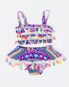 Utopia Girls Rainbow Pom Pom Bikini Multi