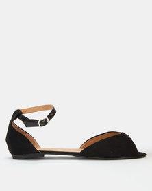 Legit Peeptoe Ankle Strap Flat Shoe Black