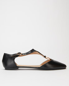 Legit Pointed Ankle-Strap Pump With Gold Metal Ring Detail Black