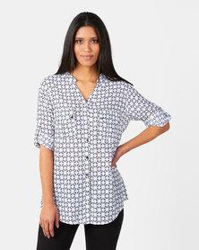 Queenspark Monotone Design Ghost Woven Shirt Navy